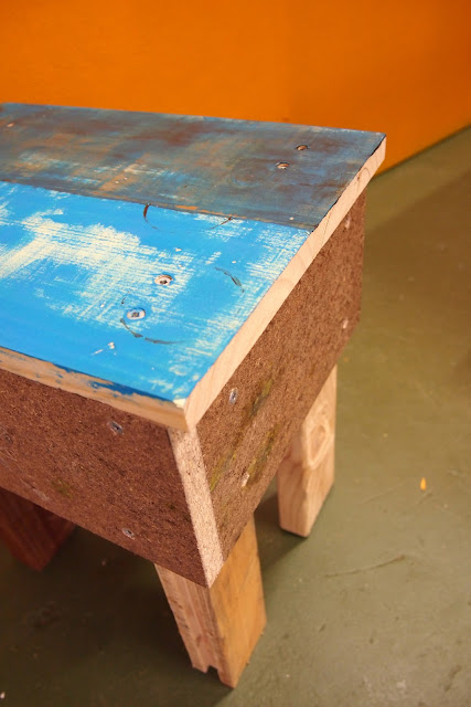 rustic industrial stool, off-cut, scrap wood, reclaimed wood, timber, turquoise