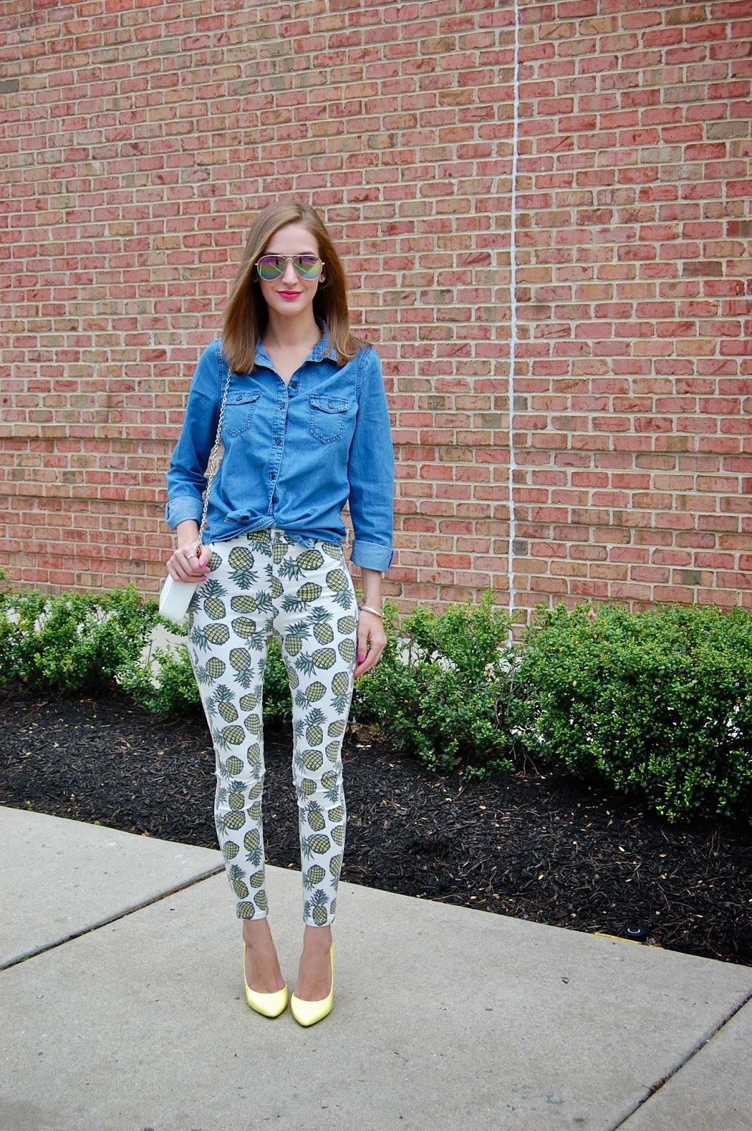 Wearing tied chambray shirt, Topshop pineapple pants, Bcbg Paris yellow jaze heels, lucite clutch, pineapple trend, pineapple pants