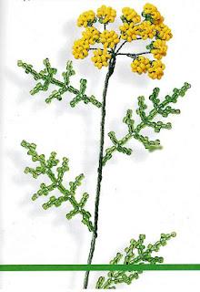 Цветок пижма из бисера