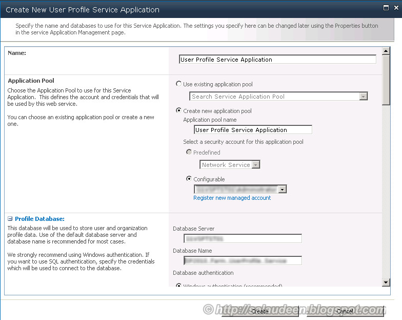 Create New User Profile Service Application