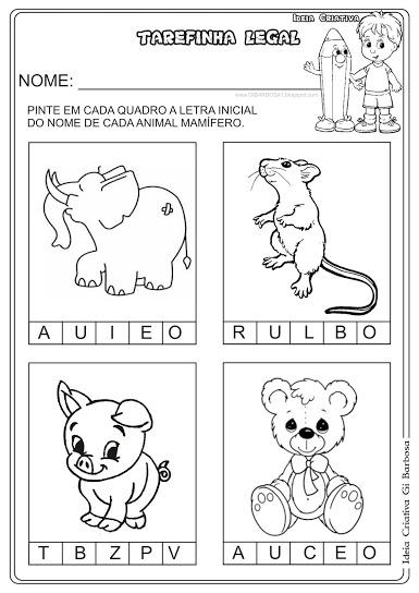 Atividade Letra Inicial Animais Mamíferos