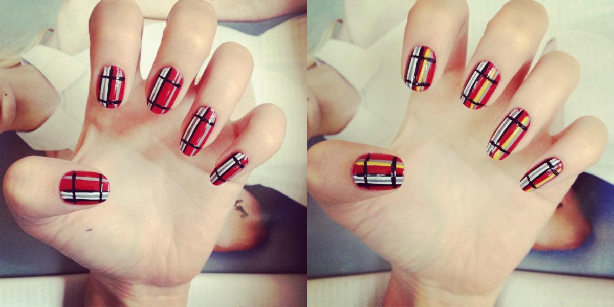 Straight Line Nail Art : Autumn winter tartan trend nail art diy burkatron