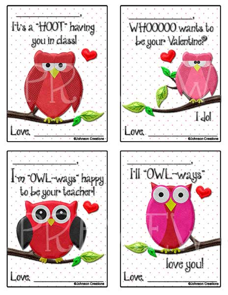 these valentines would be super cute to give to your students there are four different valentines in each set i suggest you print them on cardstock - Valentines For Students