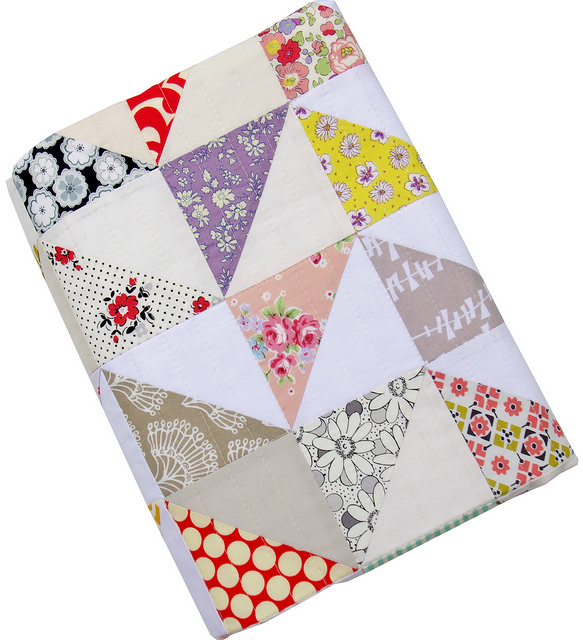 Modern Half Square Triangle Baby and Toddler Quilt   Red Pepper Quilts