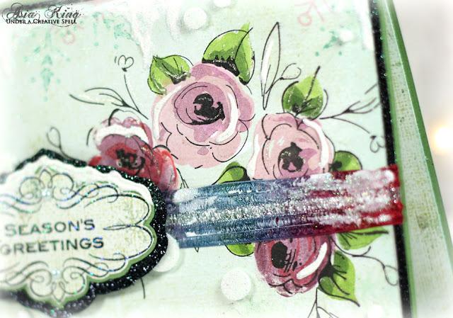 Vintage hand stamped flowers