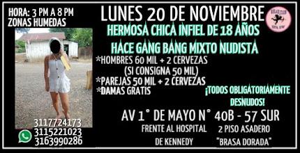 LUNES 20 DE NOVIEMBRE DE 3 PM A 8 PM HERMOSA CHICA DE 18 AÑOS HACE GANG BANG EN KENNEDY
