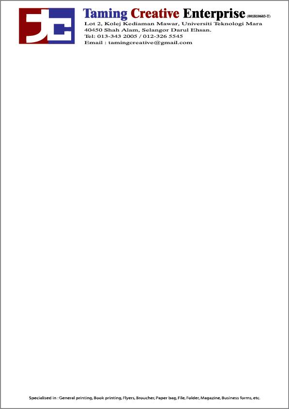 Percetakan Buku Resit Letterhead Dan Envelope Termurah Di Shah Alam Letterhead Murah Saiz A4 80gsm