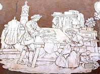 Esgrafiat representatiu de l'ofici de sastre