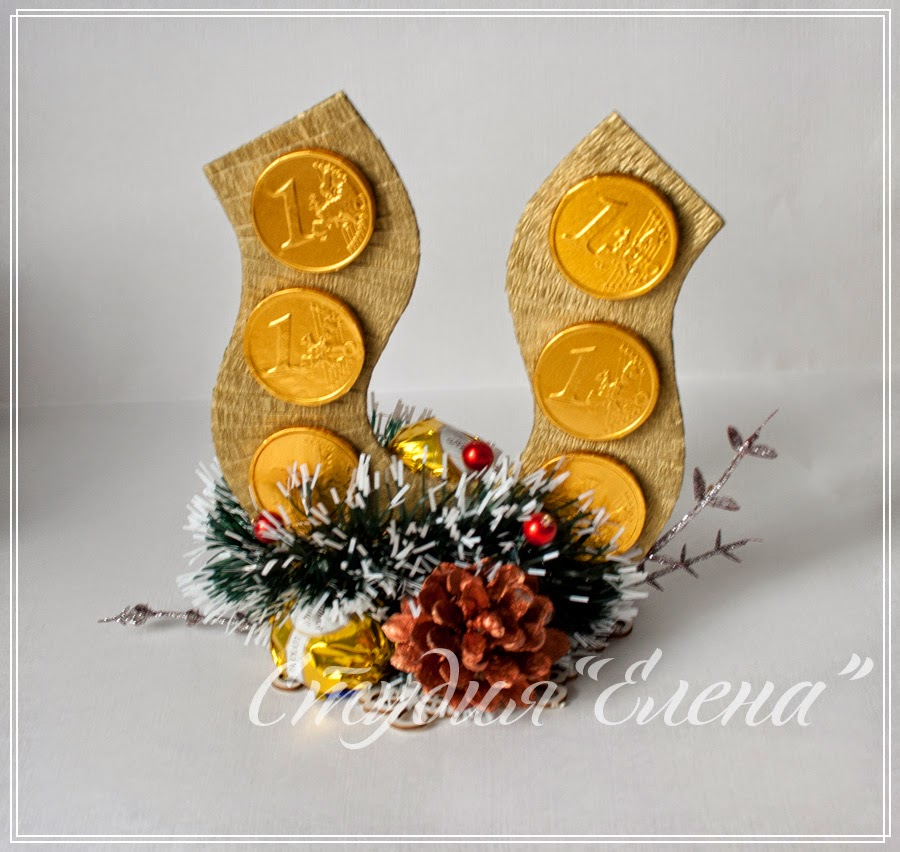 новогодние подарки - композиции из конфет