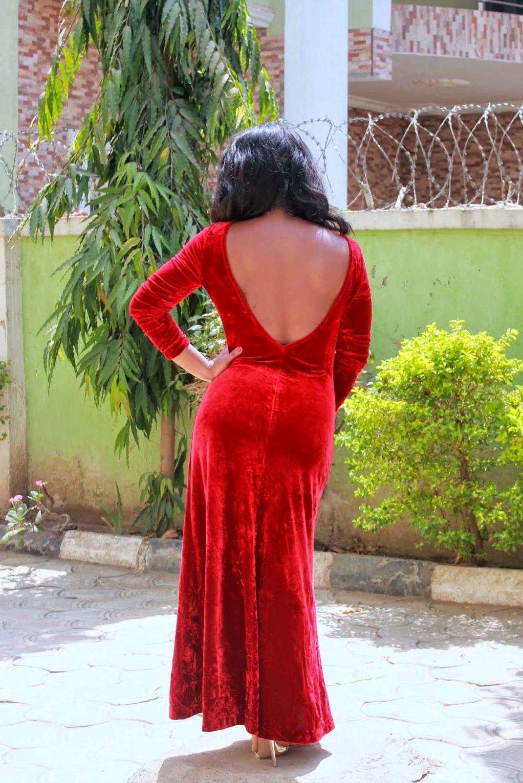 red velvet vintage dress