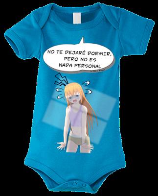 """Body para bebés """"No dormirás mamá"""" color azul"""