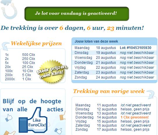 Clix verdienen met Euroclix LotteryClix