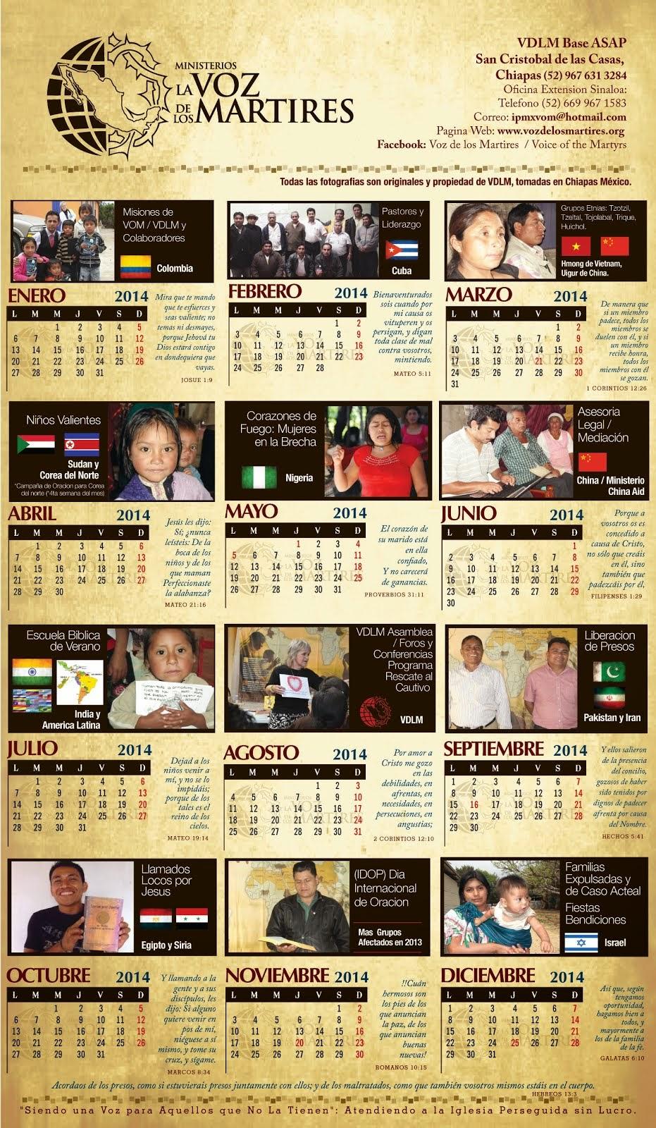 VDLM Calendar 2014