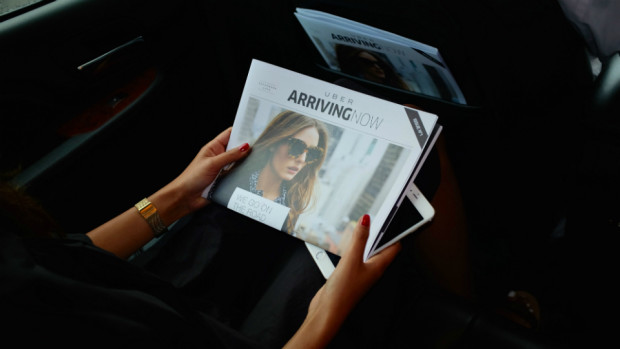 Uber 'ARRIVING NOW' in-car FREE Magazine for riders Just like Airlines