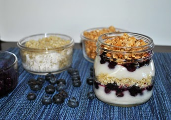 Roasted Blueberry Coconut Quinoa Parfait