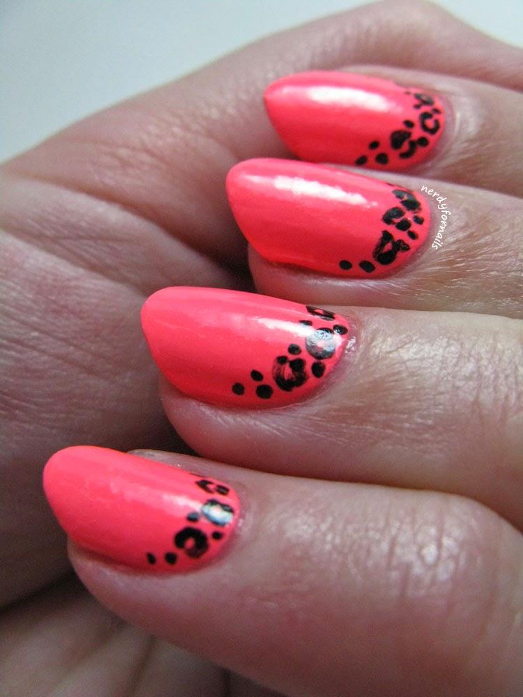 Almond Nail Shape- Neon Leopard Half Moon
