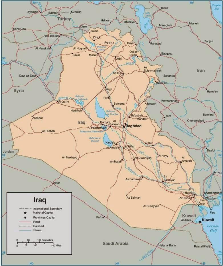 Map of Iraq roads
