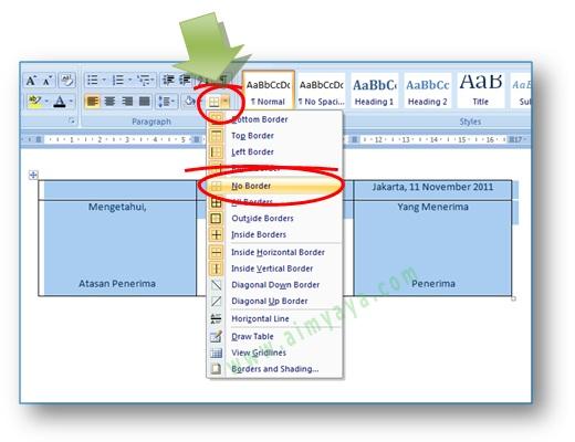gambar: finalisasi pembuatan penandatangan dengan menghilangkan garis tabel di Microsoft Word