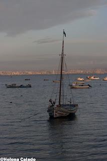 fotografia nascer do sol de um barco carateristico de Alcochete, o Moliceiro