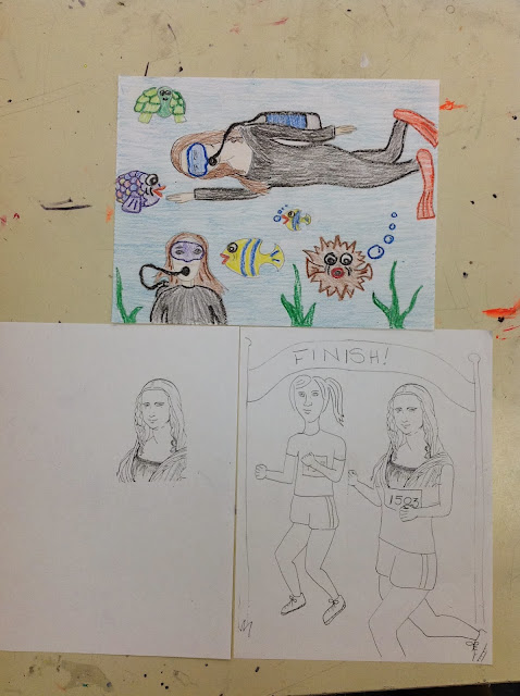 Examples for 4th Grade Day with Mona Lisa Drawings