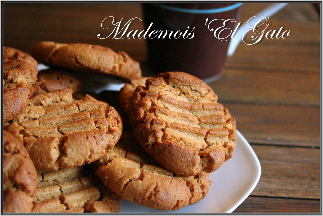 Mademois 39 el gato cookies au beurre de cacahu tes - Cookies beurre de cacahuete ...