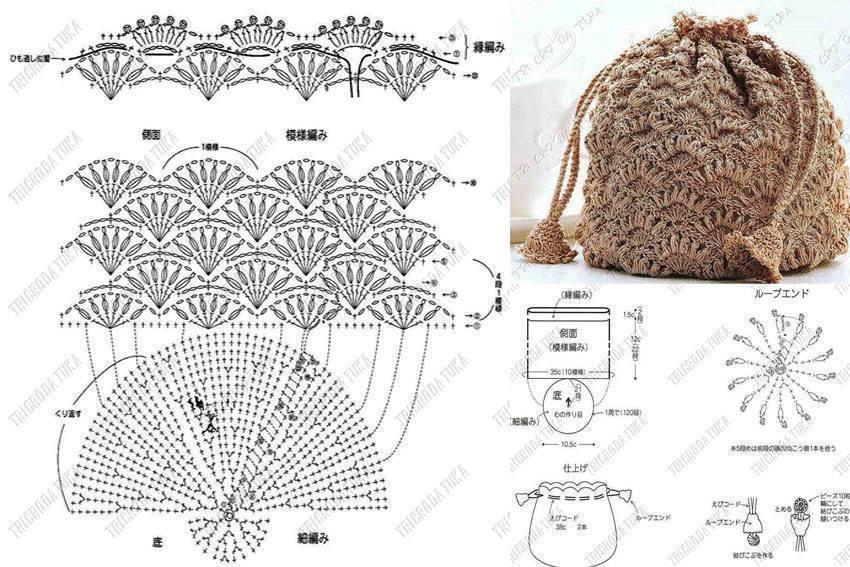 Crochet Bag Drawstring Pattern : ergahandmade: 15 Crochet Bags + Diagrams
