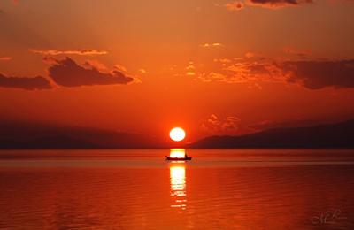 İznik Gölü Gün Batımı - Kayık