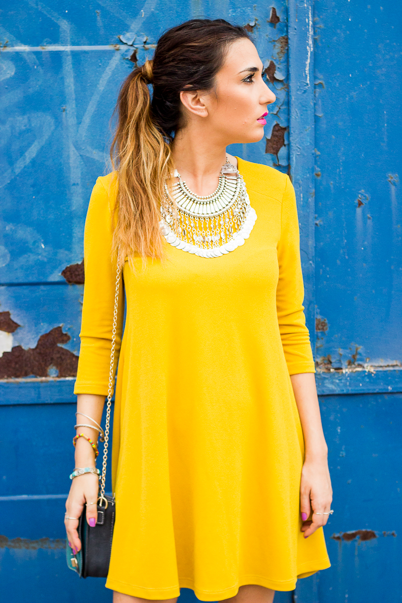 The perfect mustard dress - Blog de Moda Femenina y Tendencias | Shoes And Basics By Patti ...