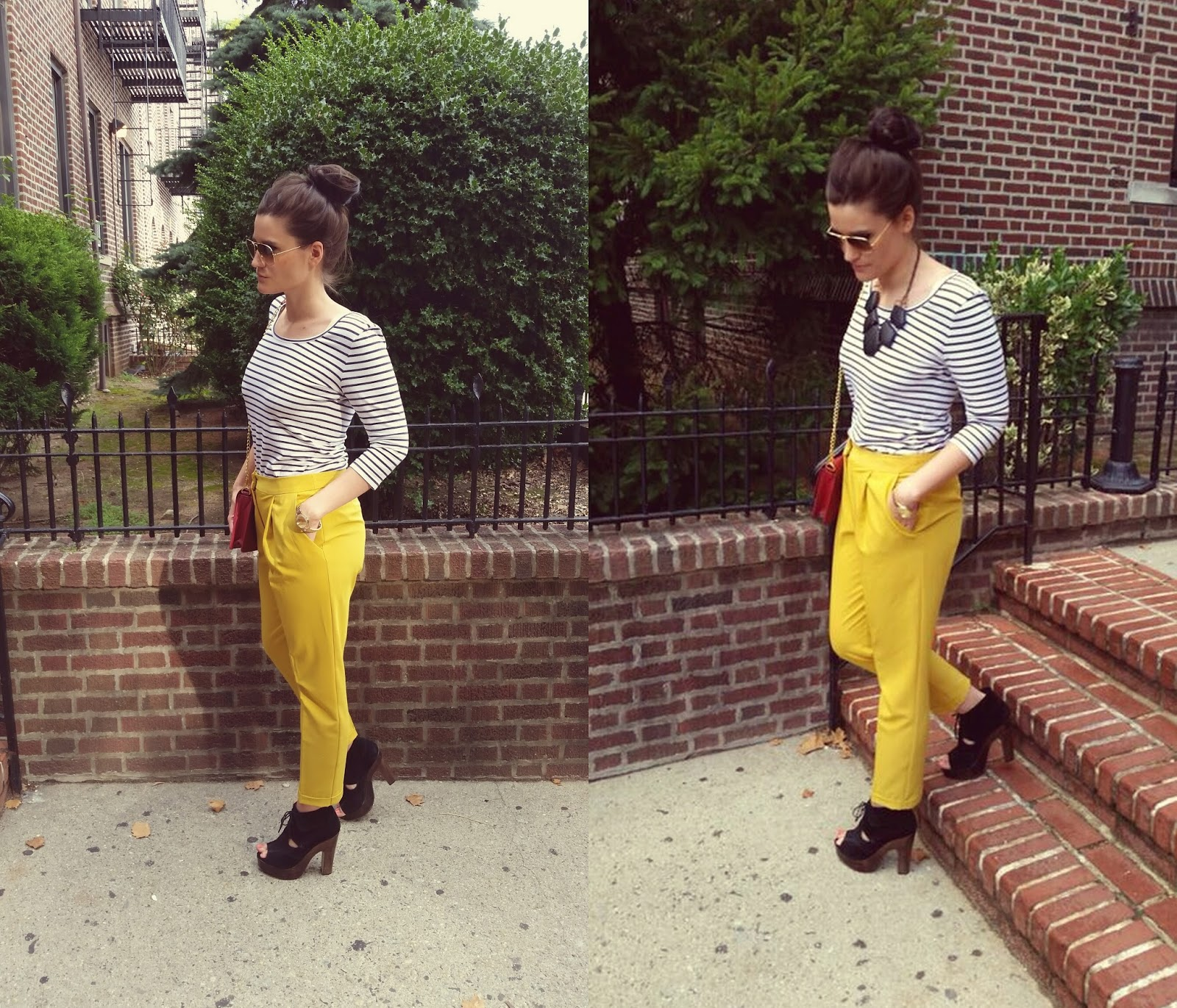 outfit fashion dagens outfit gule bukser yellow pants peg trousers stripes black white red purse gold watch necklace model brooklyn ootd fashion high heels chunky heels brunette rayban sunglasses