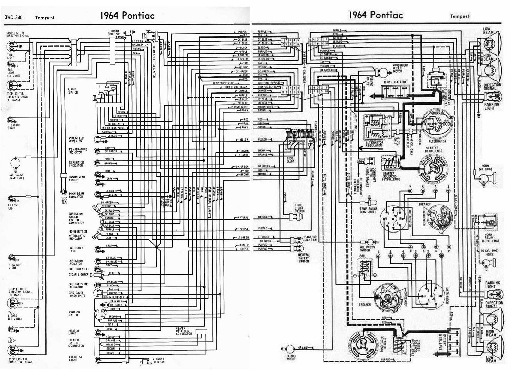 Pontiac Tempest 1964 Complete Electrical Wiring Diagram 1967 gto wiring diagram 1967 gto tach wiring diagram \u2022 wiring 1998 pontiac bonneville wiring diagram at bakdesigns.co