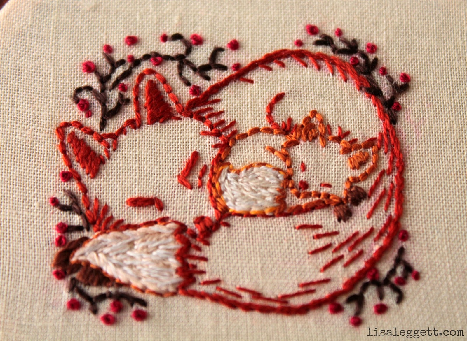 Mama & Baby Fox Embroidery by Lisa Leggett
