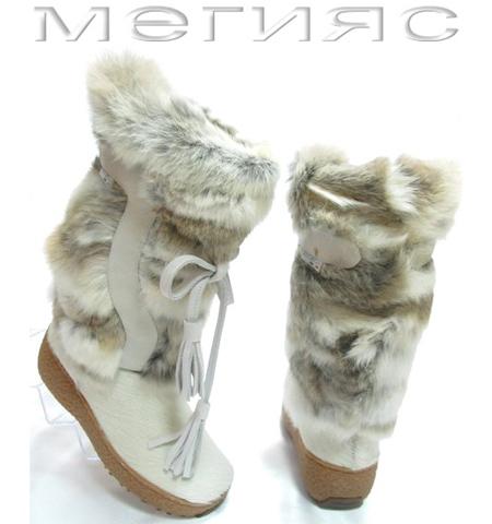 бели ботуши с кожа от лисица