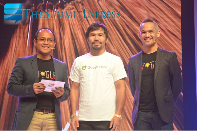 Kenneth Lingan, Country Manager, Google Philippines; Filipino boxing icon Manny Pacquiao and  Ryan Morales, Country Marketing Manager, Google Philippines
