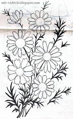 садовые ромашки - бесплатный узор для вышивки.