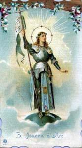 Santa Joana d'Arc (1412-1431), santa padroeira da França e heroína da Guerra dos Cem Anos.