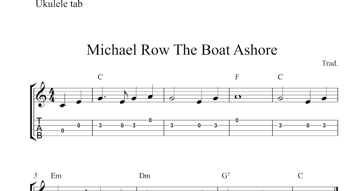 Michael row the boat ashore guitar chords