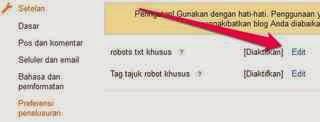 Cara mengaktifkan Custom robots.txt Pada Blogger