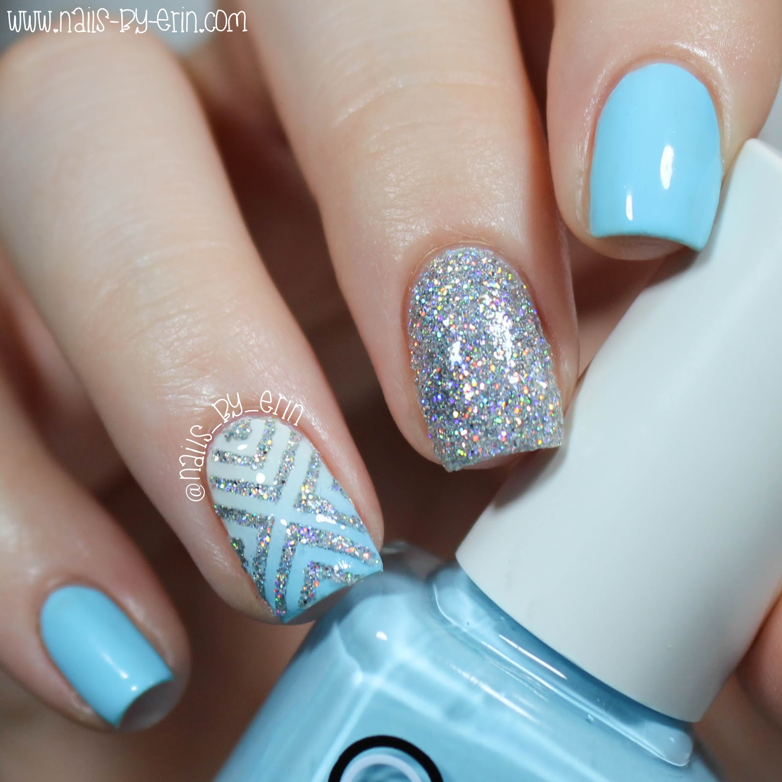 NailsByErin: Blue and Silver Glitter X Nails