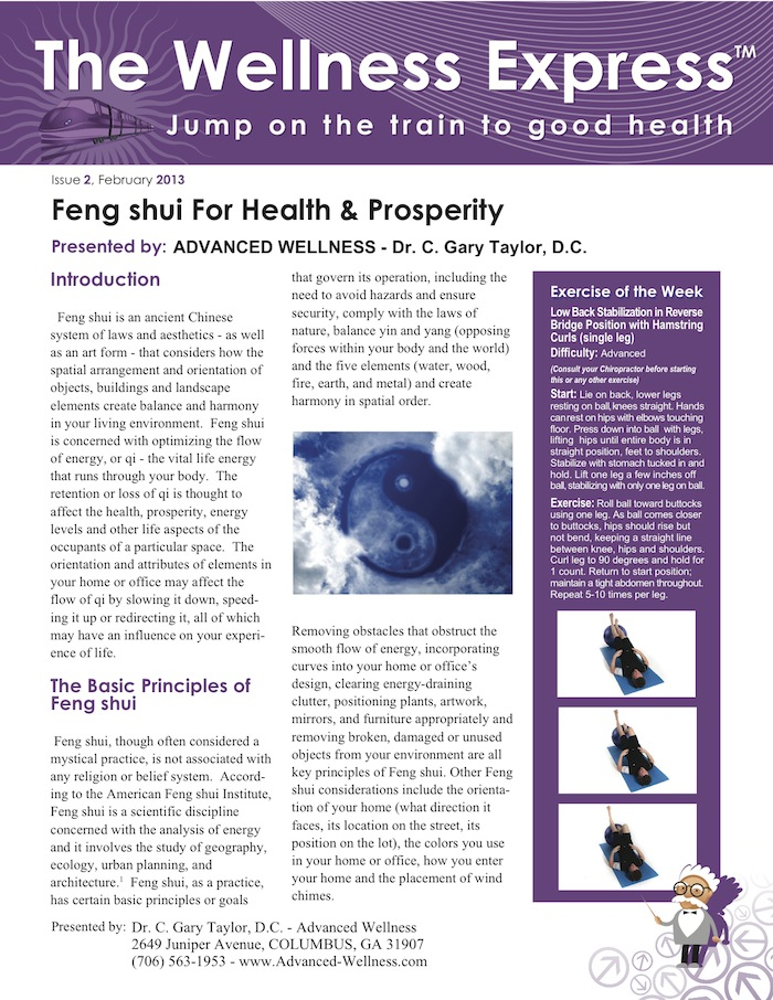 Advanced wellness february 2013 for Feng shui for health