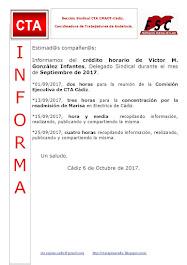 C.T.A. INFORMA CRÉDITO HORARIO VÍCTOR GONZALEZ, SEPTIEMBRE 2017