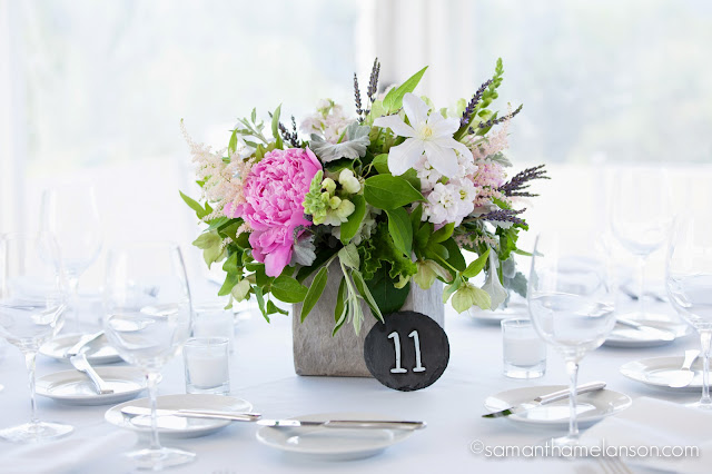 stone planter centerpiece, summer flowers : les fleurs : fruitlands museum : samatha melanson photography