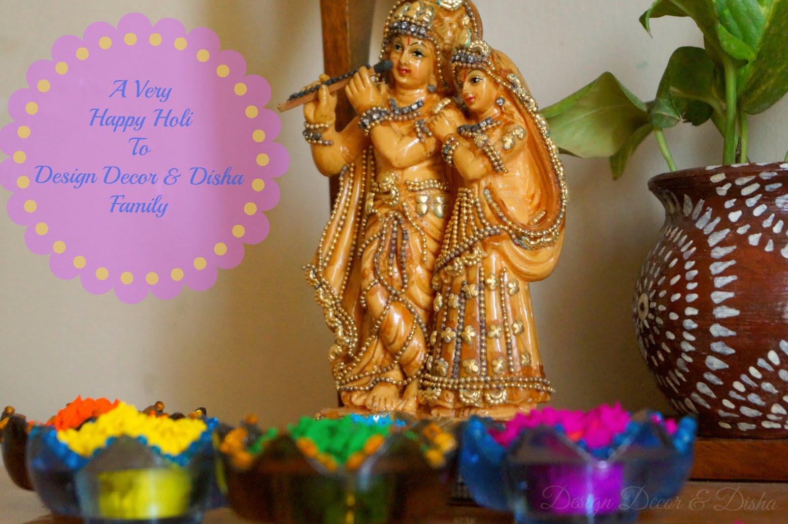 Design decor disha happy holi for Holi decorations at home