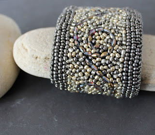Bead Embroidered cuff bracelet in gold, bronze and pewter