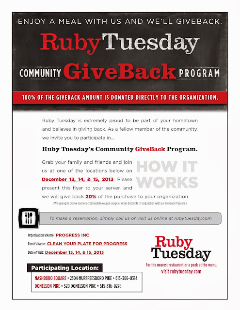Progress Inc., Ruby Tuesday, GiveBack, Holiday, Dinner, Deals