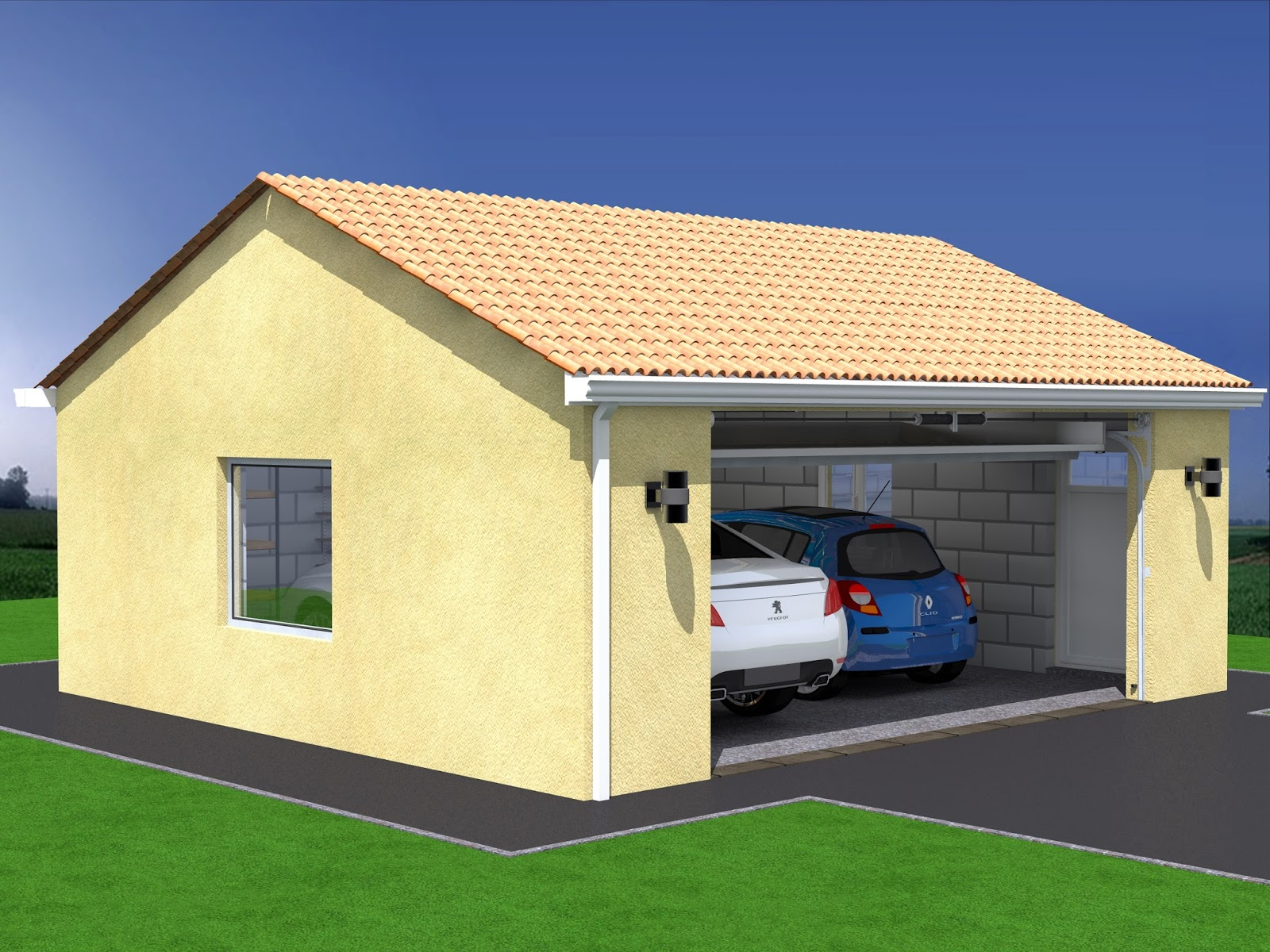 Projet de construction de garage double for Construction garage parpaing plan