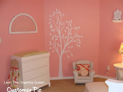 white pink nursery tree decal