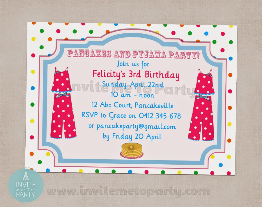 Invite Me To Party Pancakes and Pajamas Party – Pancake Party Invitations