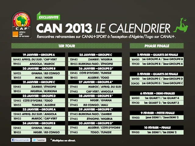 CAN 2013 : Le programme complet des matches