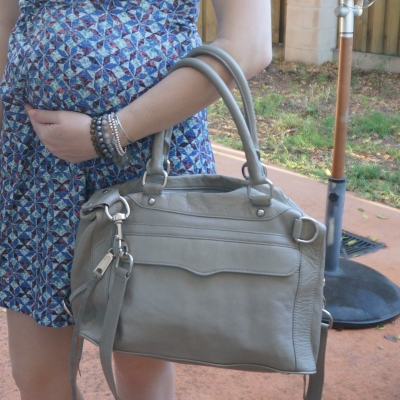 Away From Blue | Second Trimester baby bump Rebecca Minkoff MAB mini in soft grey