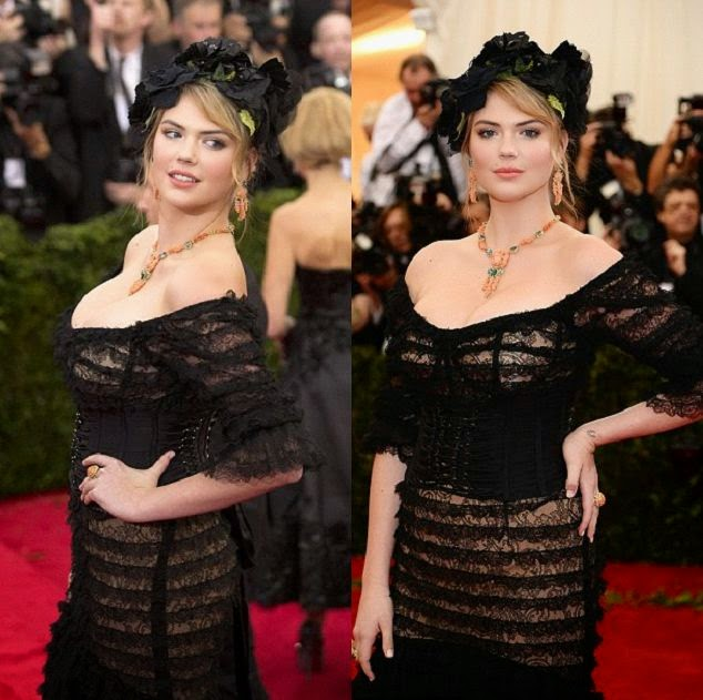 Vision in classic point, Kate Upton looked stunning in her 20s style black long dress at the Met Gala after party on Monday, April 5, 2014.